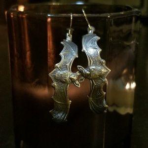 Handmade Sterling Silver Bat Hoops